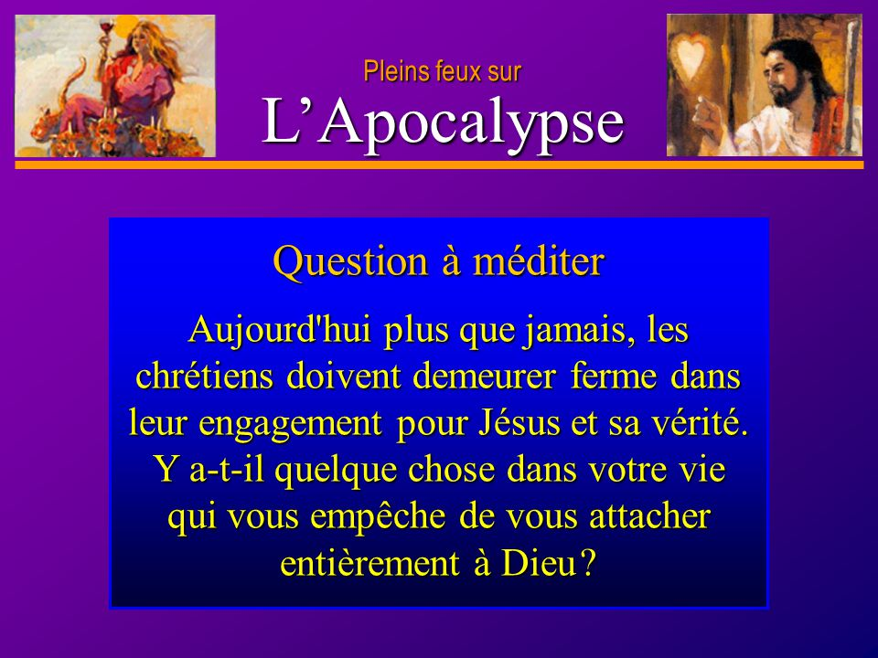 L'Apocalypse Question à méditer