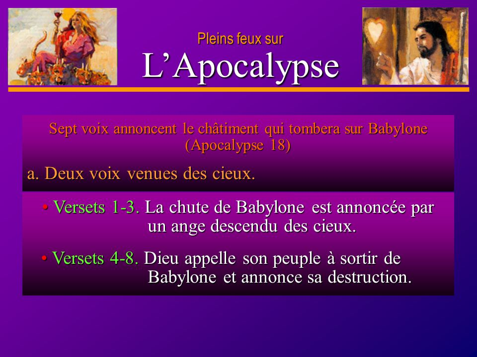 L'Apocalypse a. Deux voix venues des cieux.
