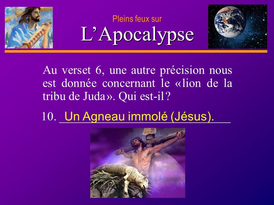 Pleins feux sur L'Apocalypse. Au verset 6, une autre précision nous est donnée concernant le « lion de la tribu de Juda ». Qui est-il