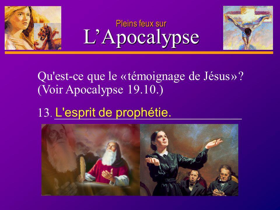 Pleins feux sur L'Apocalypse. Qu est-ce que le « témoignage de Jésus » (Voir Apocalypse 19.10.) 13. ______________________________.