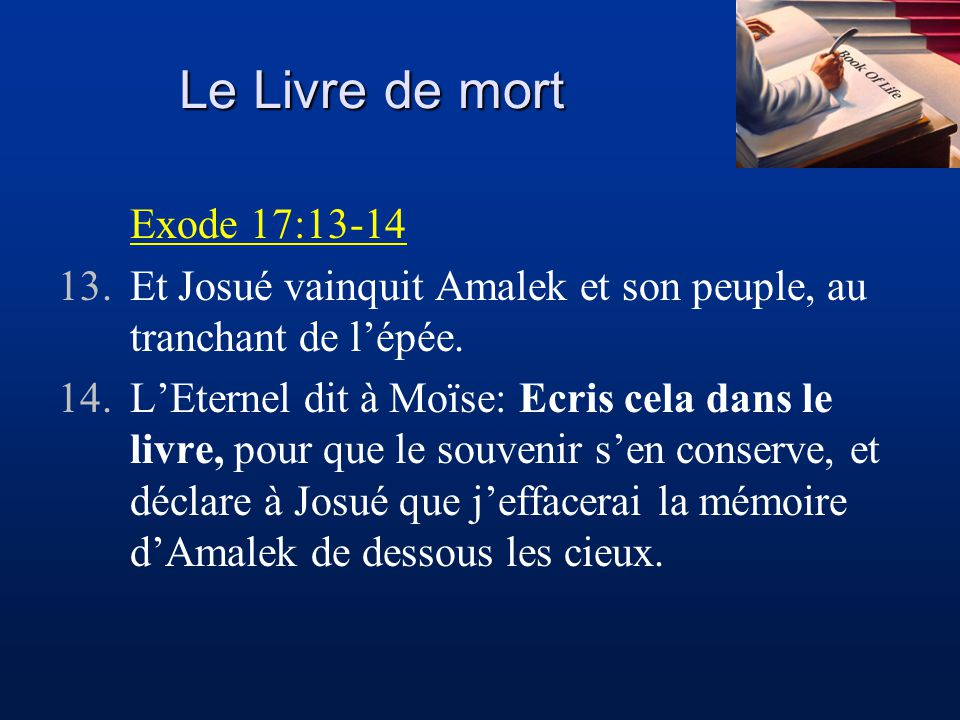 Le Livre de mort Exode 17:13-14