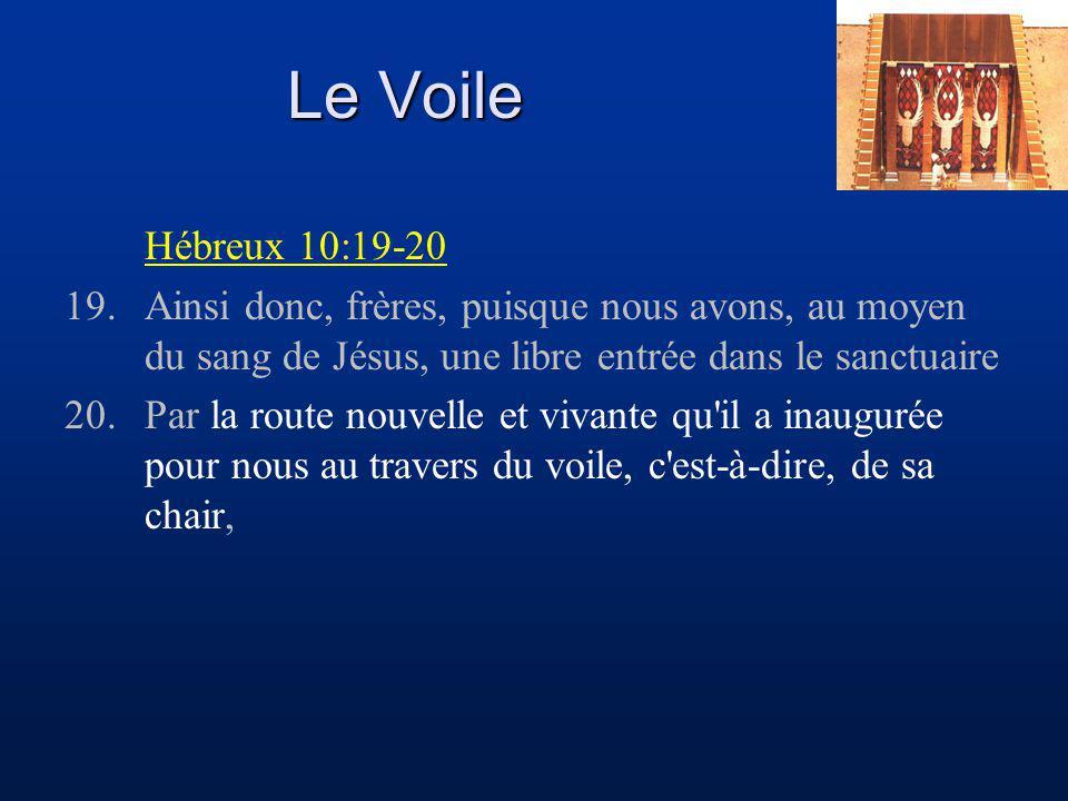 Le Voile Hébreux 10:19-20. 19. Ainsi donc, frères, puisque nous avons, au moyen du sang de Jésus, une libre entrée dans le sanctuaire.