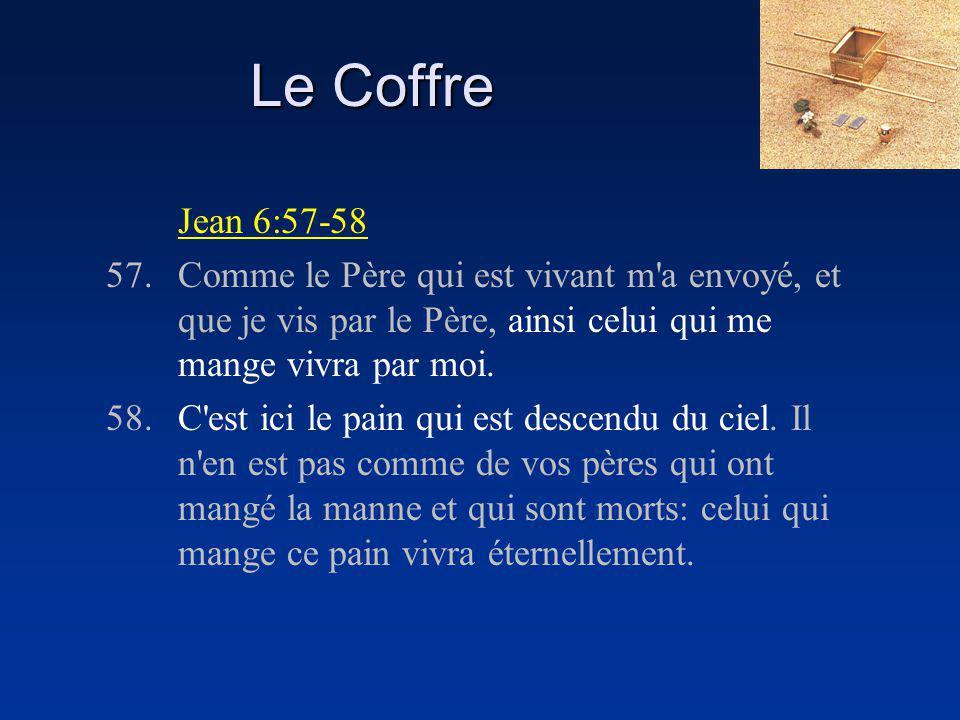 Le Coffre Jean 6:57-58. 57. Comme le Père qui est vivant m a envoyé, et que je vis par le Père, ainsi celui qui me mange vivra par moi.