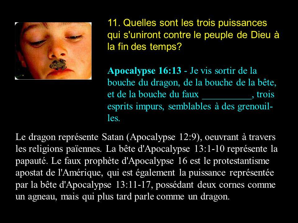 11. Quelles sont les trois puissances qui s uniront contre le peuple de Dieu à la fin des temps