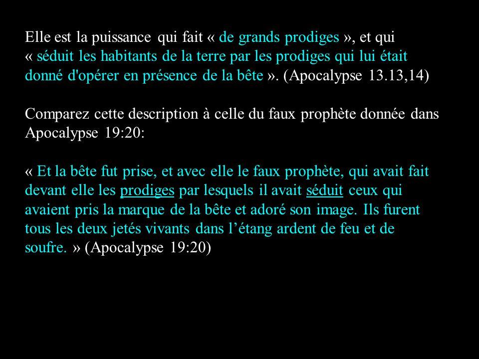 Elle est la puissance qui fait « de grands prodiges », et qui « séduit les habitants de la terre par les prodiges qui lui était donné d opérer en présence de la bête ». (Apocalypse 13.13,14)