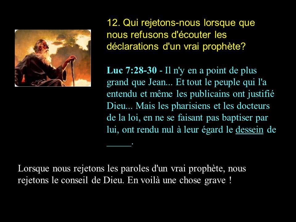 12. Qui rejetons-nous lorsque que nous refusons d écouter les déclarations d un vrai prophète