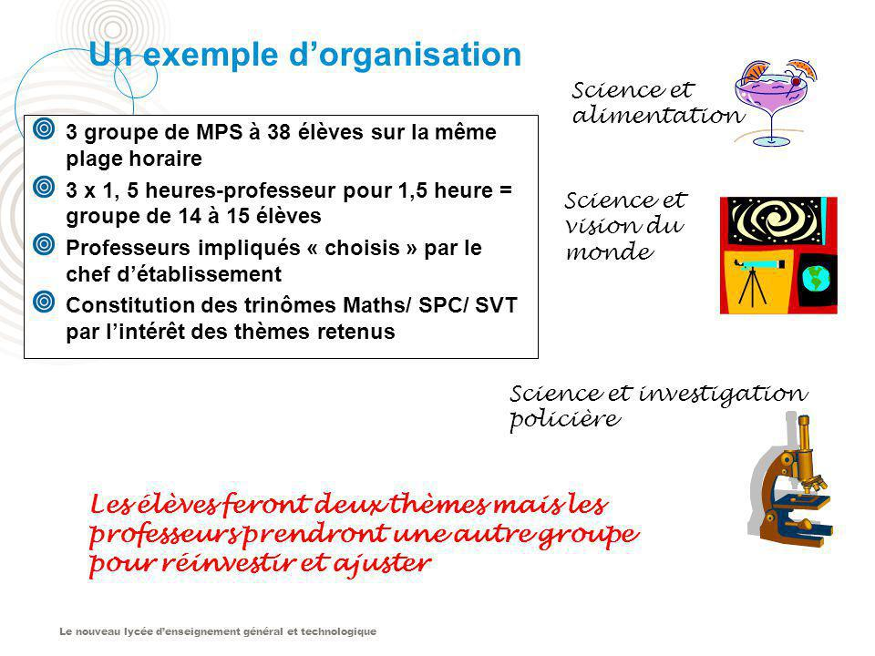 Un exemple d'organisation