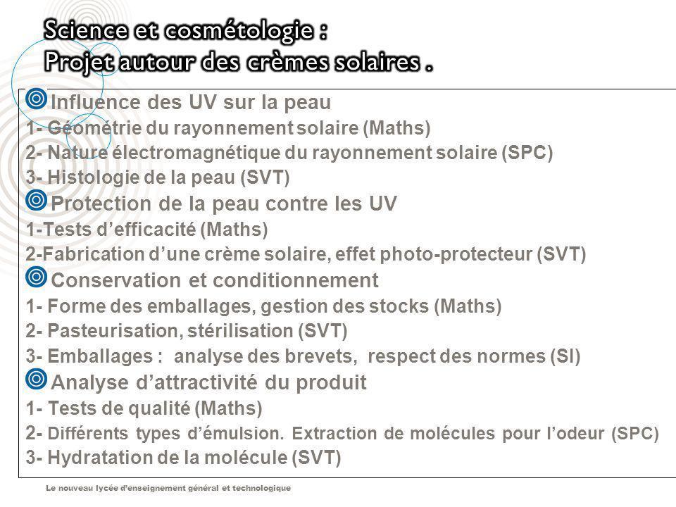 Science et cosmétologie : Projet autour des crèmes solaires .