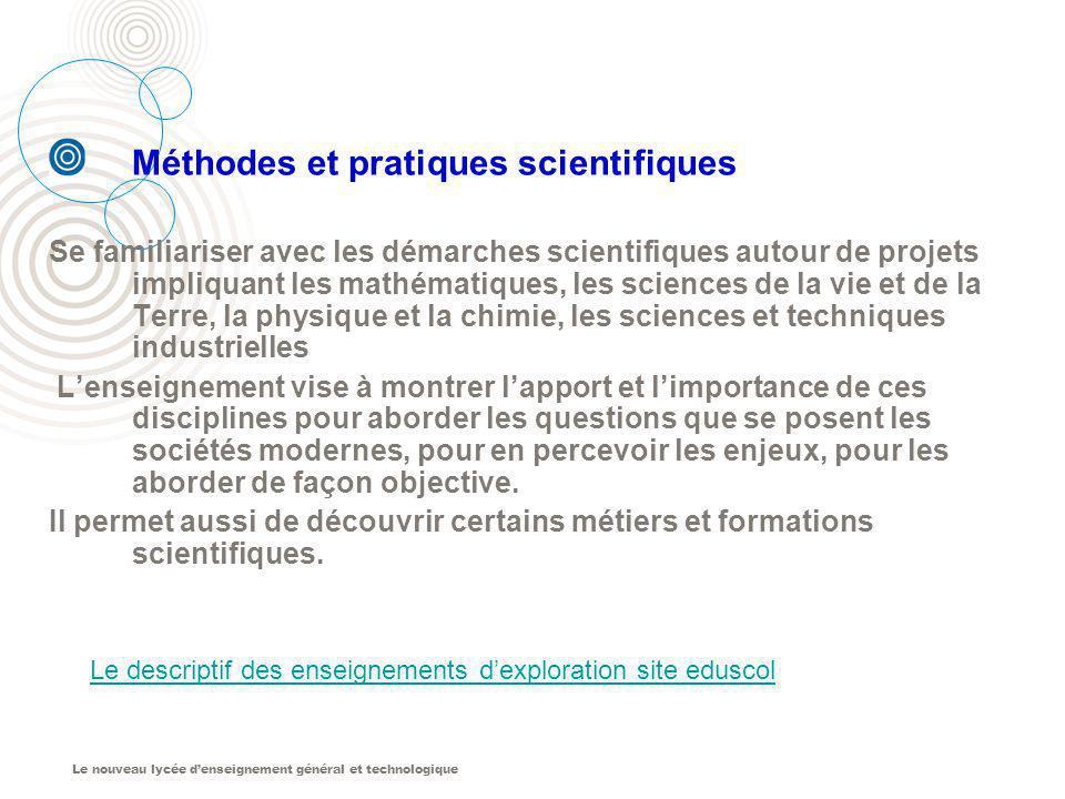 Le descriptif des enseignements d'exploration site eduscol