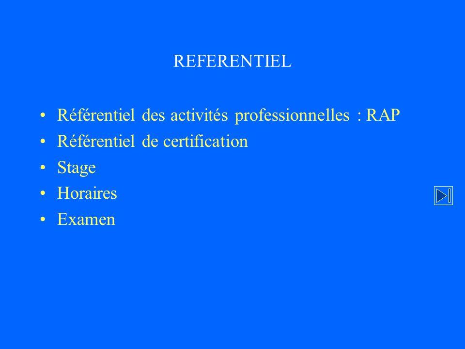REFERENTIEL Référentiel des activités professionnelles : RAP. Référentiel de certification. Stage.