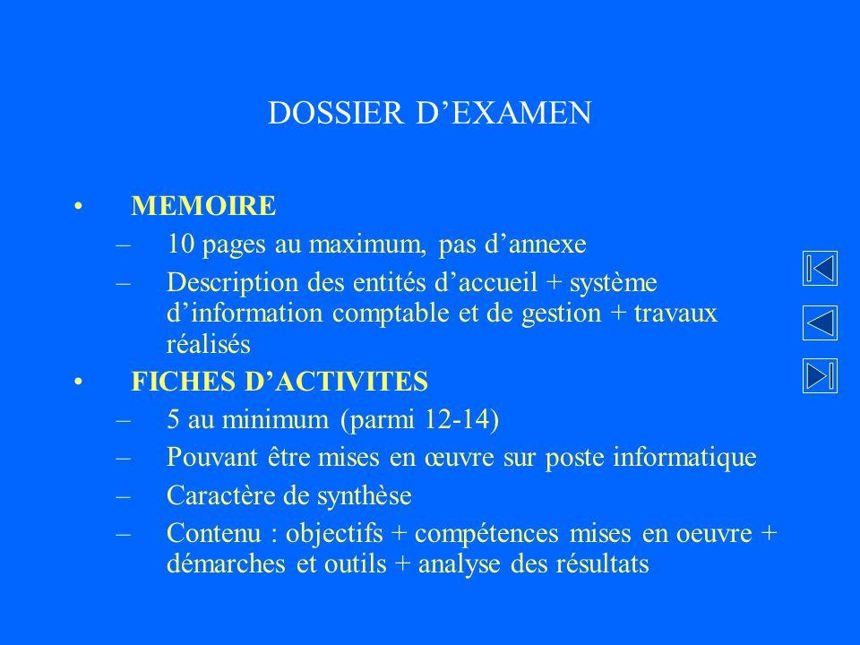 DOSSIER D'EXAMEN MEMOIRE 10 pages au maximum, pas d'annexe