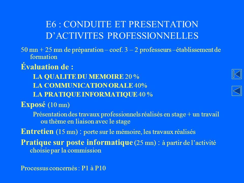 E6 : CONDUITE ET PRESENTATION D'ACTIVITES PROFESSIONNELLES