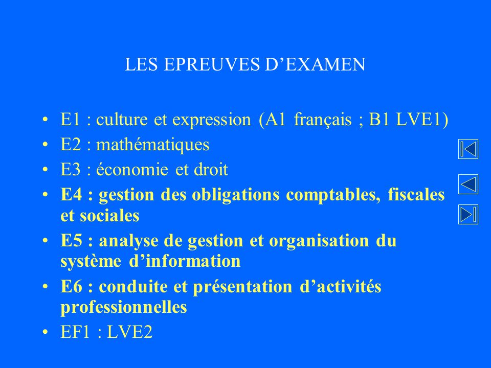 LES EPREUVES D'EXAMEN E1 : culture et expression (A1 français ; B1 LVE1) E2 : mathématiques. E3 : économie et droit.
