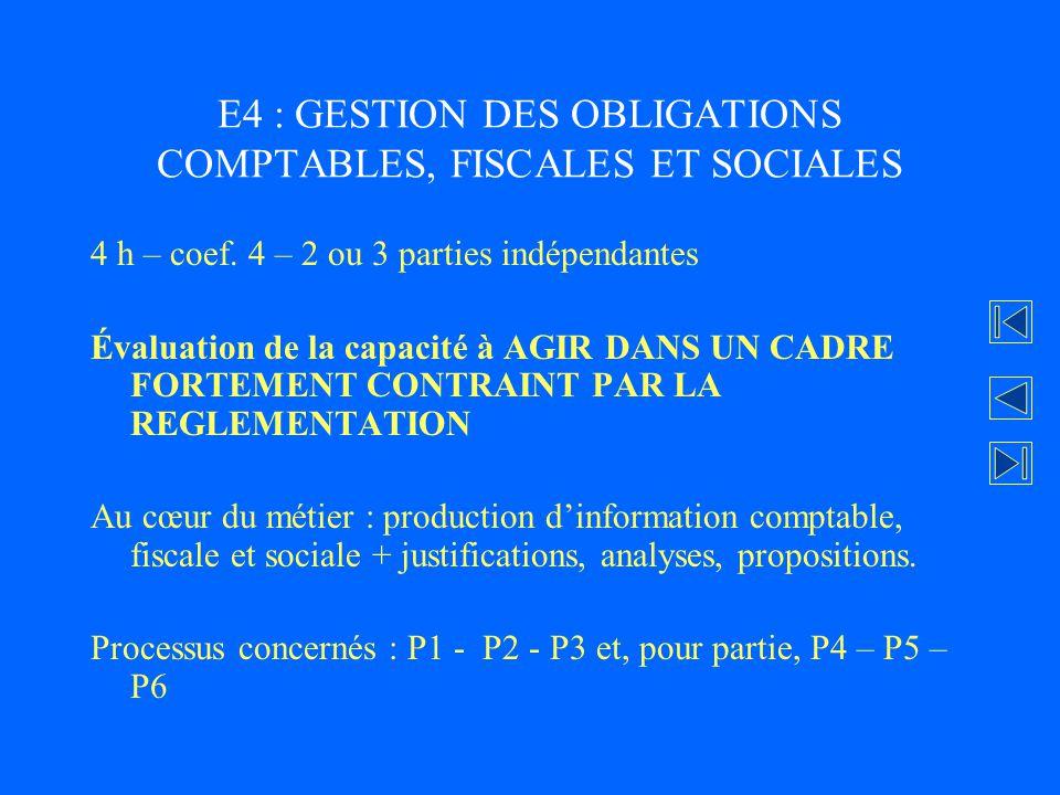 E4 : GESTION DES OBLIGATIONS COMPTABLES, FISCALES ET SOCIALES
