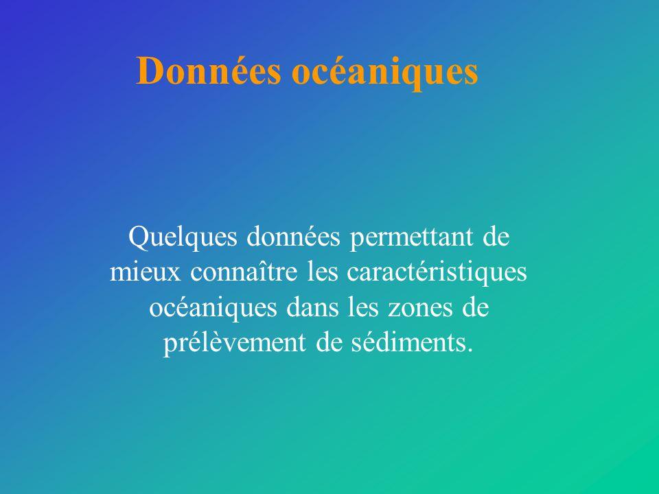 Données océaniques Quelques données permettant de mieux connaître les caractéristiques océaniques dans les zones de prélèvement de sédiments.