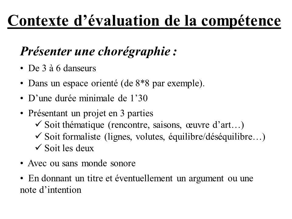 Contexte d'évaluation de la compétence
