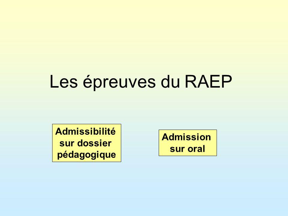 Les épreuves du RAEP Admissibilité sur dossier Admission pédagogique