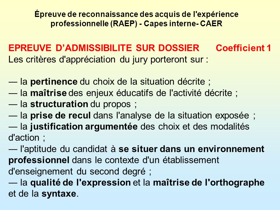 EPREUVE D'ADMISSIBILITE SUR DOSSIER Coefficient 1