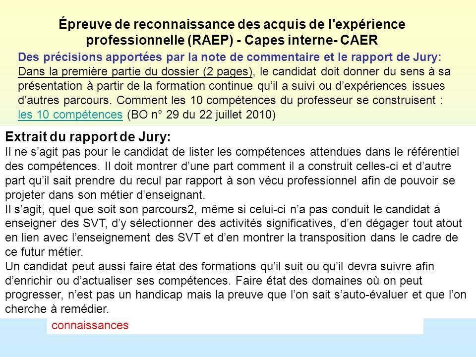 Extrait du rapport de Jury: