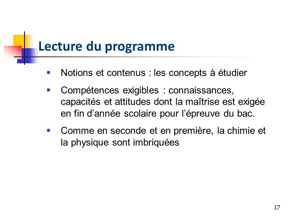 Lecture du programme Notions et contenus : les concepts à étudier