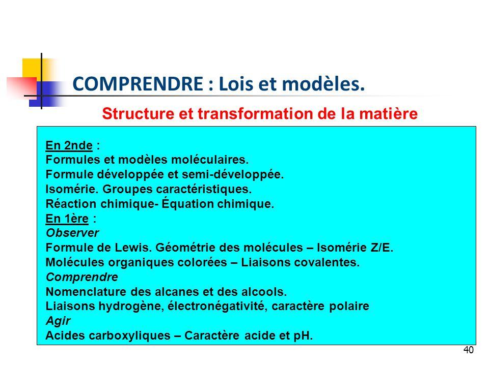 Structure et transformation de la matière