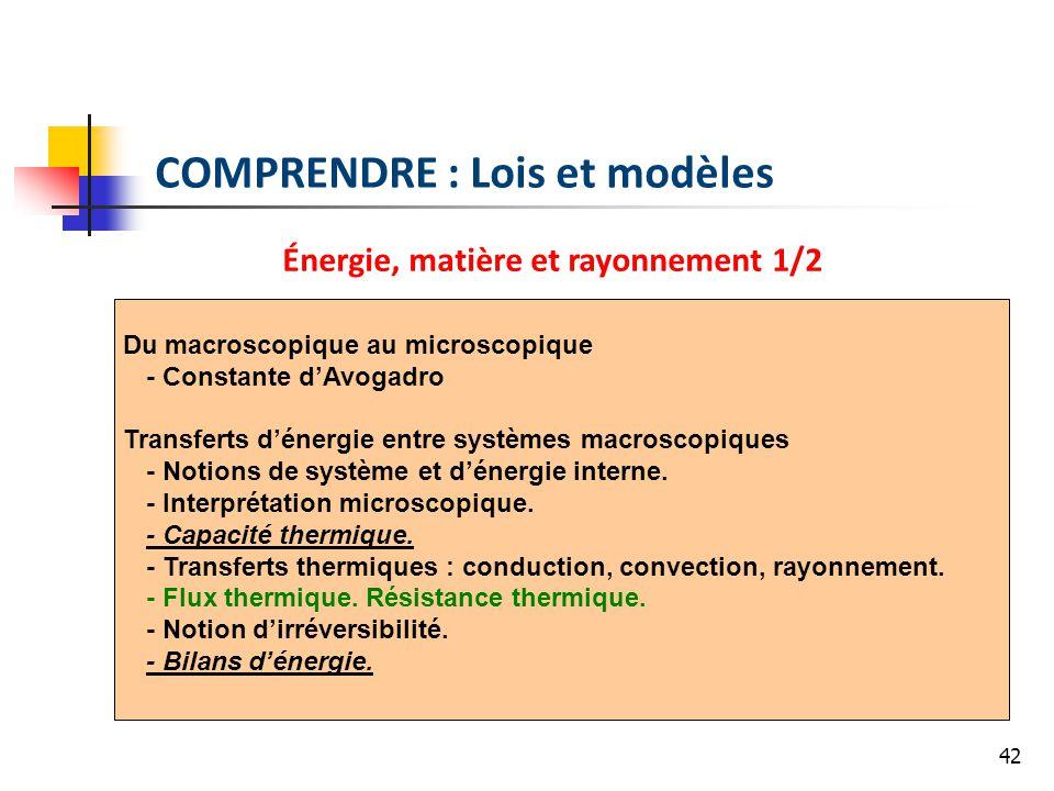 COMPRENDRE : Lois et modèles Énergie, matière et rayonnement 1/2