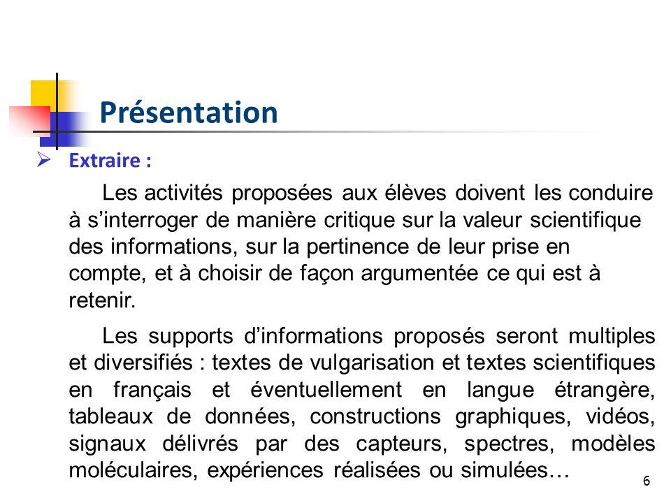 Présentation Extraire :