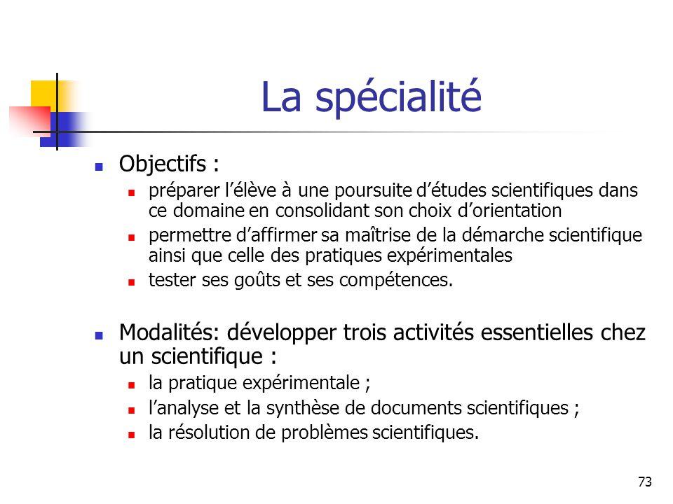 La spécialité Objectifs :