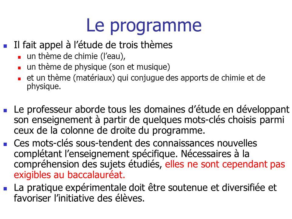 Le programme Il fait appel à l'étude de trois thèmes