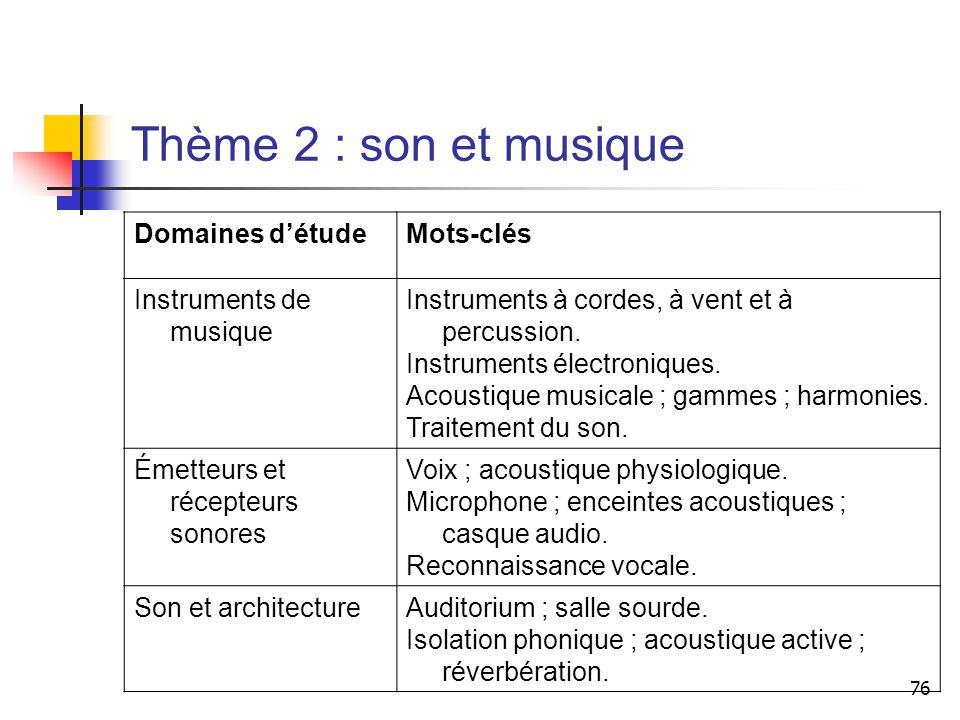 Thème 2 : son et musique Domaines d'étude Mots-clés