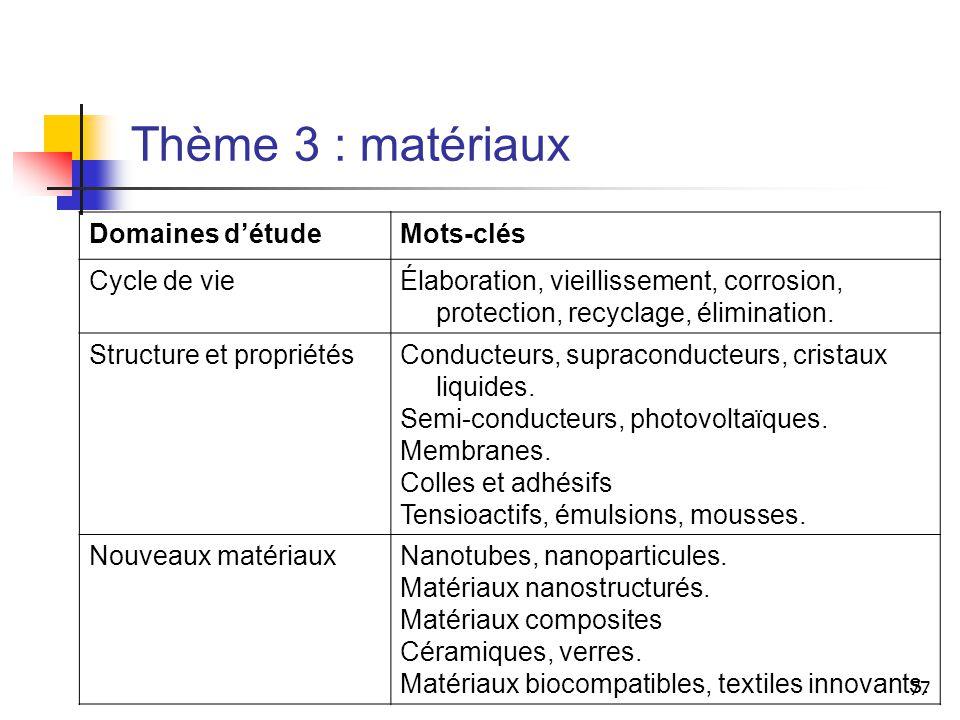 Thème 3 : matériaux Domaines d'étude Mots-clés Cycle de vie
