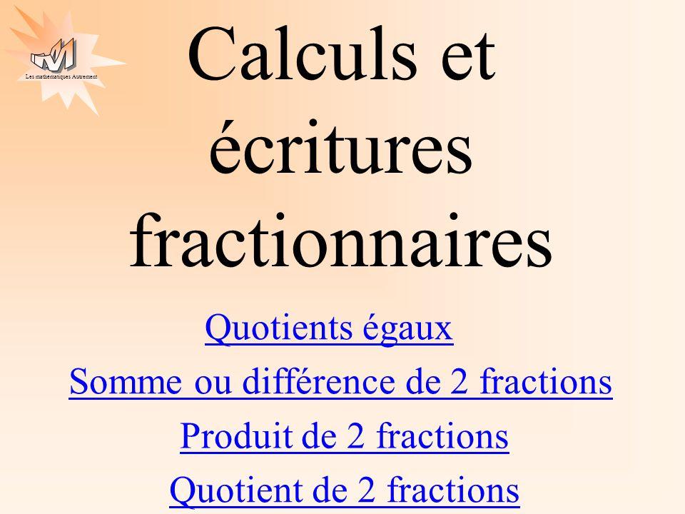 Calculs et écritures fractionnaires