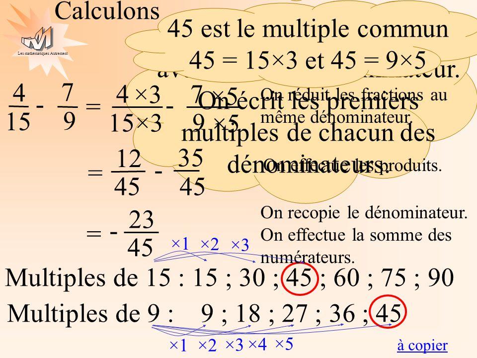 45 est le multiple commun 45 = 15×3 et 45 = 9×5
