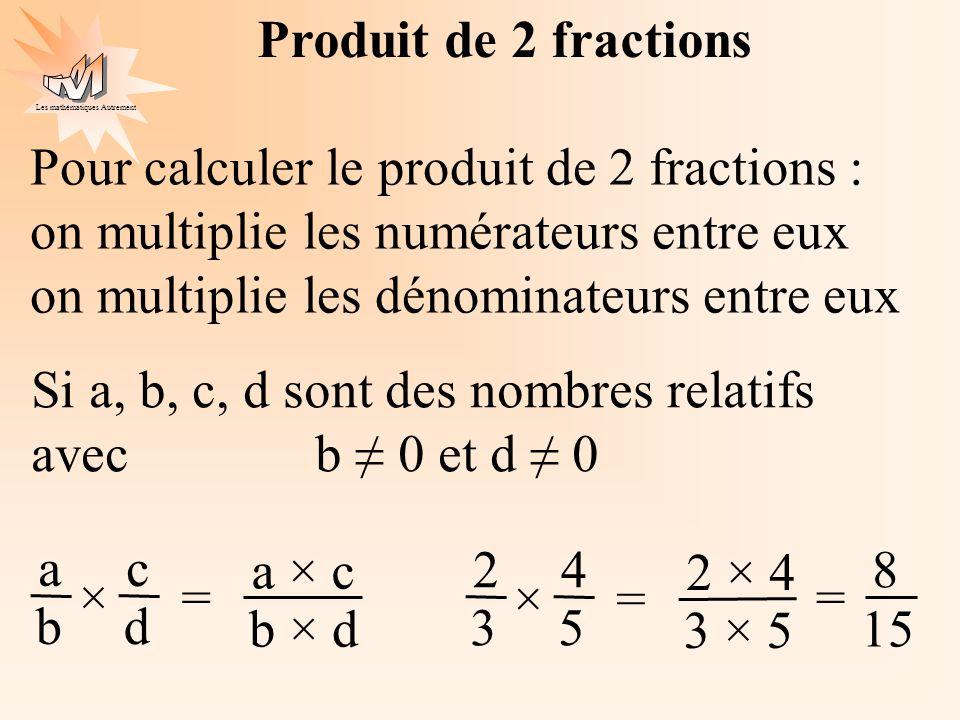 Produit de 2 fractions Pour calculer le produit de 2 fractions : on multiplie les numérateurs entre eux.