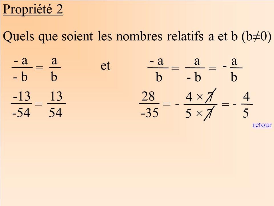 Quels que soient les nombres relatifs a et b (b≠0)