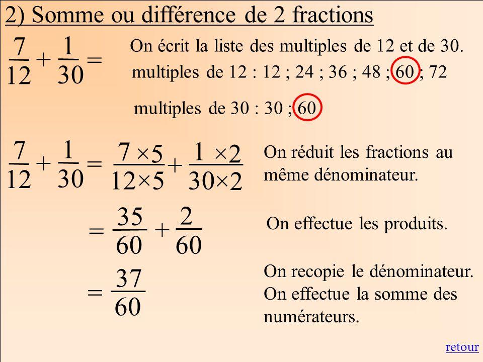2) Somme ou différence de 2 fractions