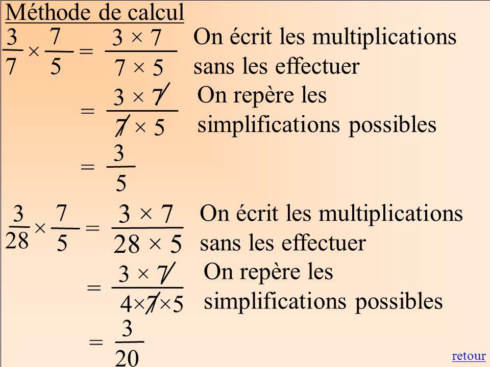 Méthode de calcul 3. 7. 7. 3 × 7. 7 × 5. On écrit les multiplications sans les effectuer. × =