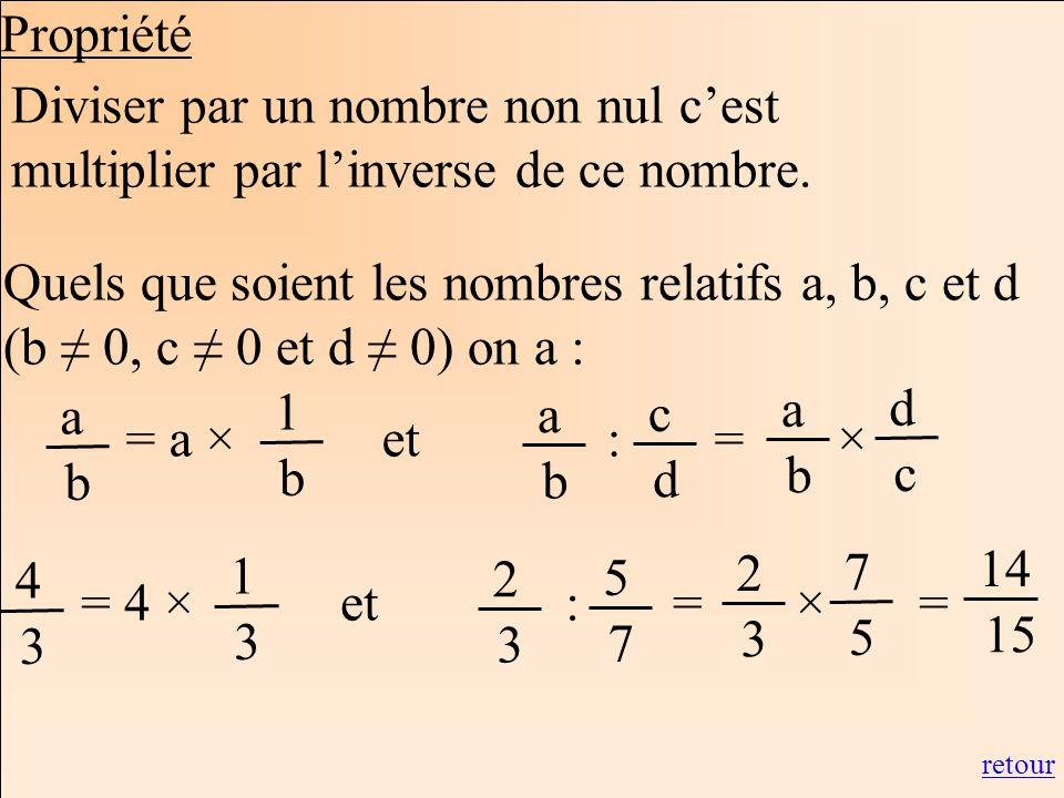 Propriété Diviser par un nombre non nul c'est multiplier par l'inverse de ce nombre.