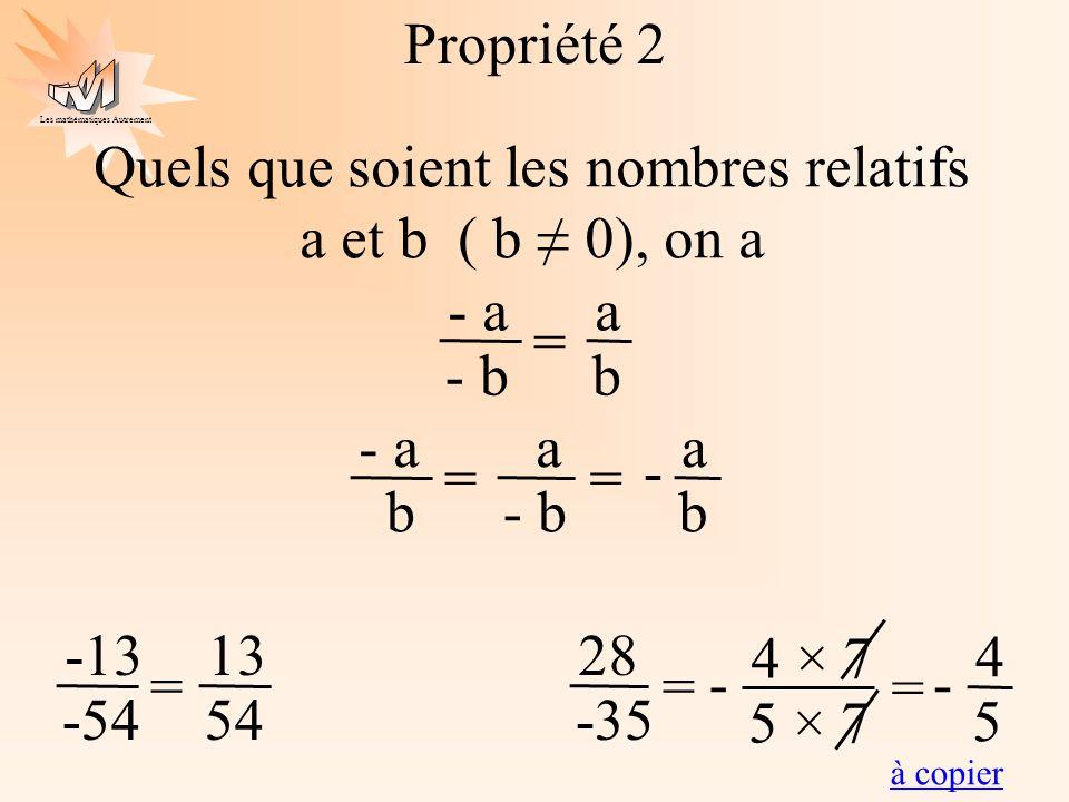 Quels que soient les nombres relatifs a et b ( b ≠ 0), on a