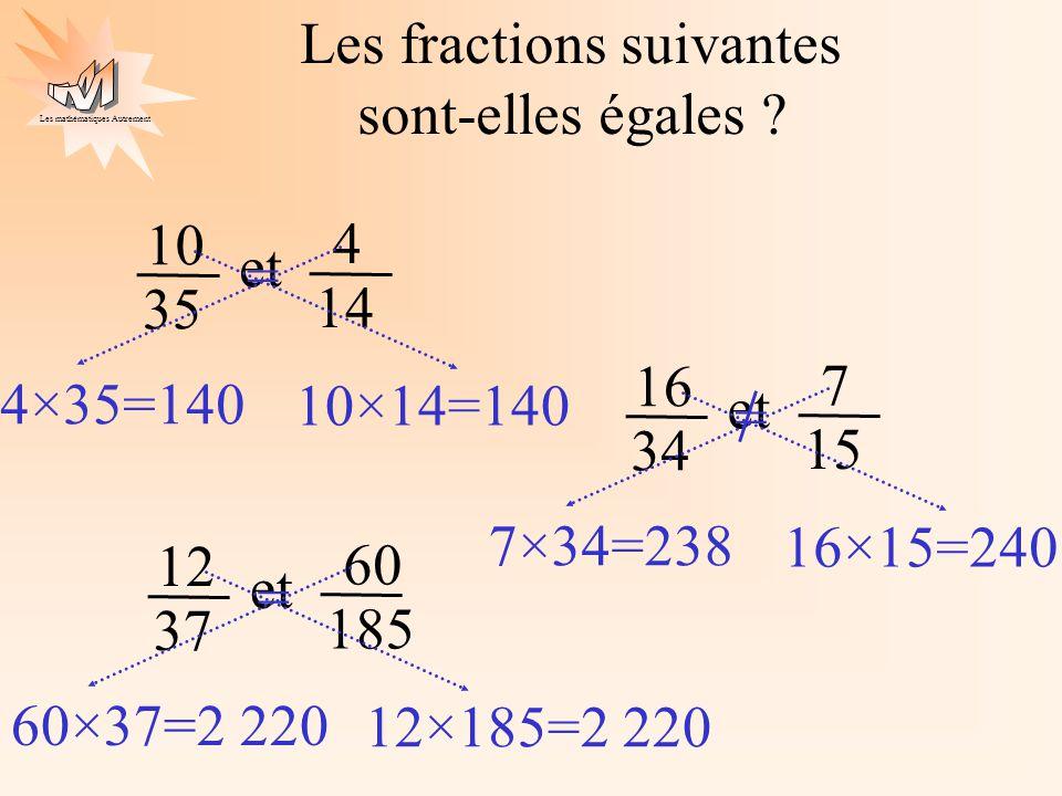 Les fractions suivantes sont-elles égales