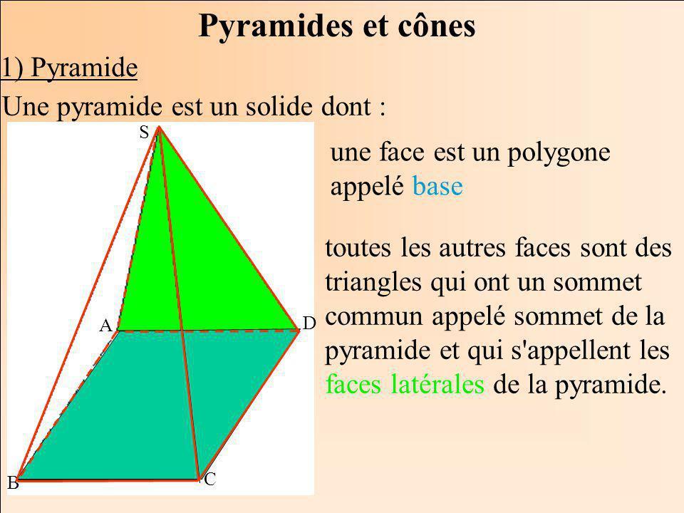 Pyramides et cônes 1) Pyramide Une pyramide est un solide dont :