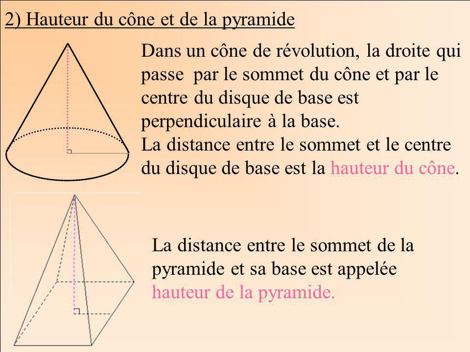 2) Hauteur du cône et de la pyramide