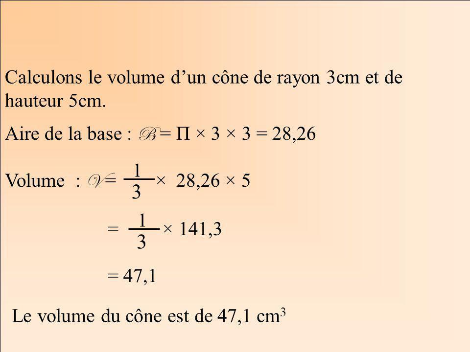 3 3 Calculons le volume d'un cône de rayon 3cm et de hauteur 5cm.