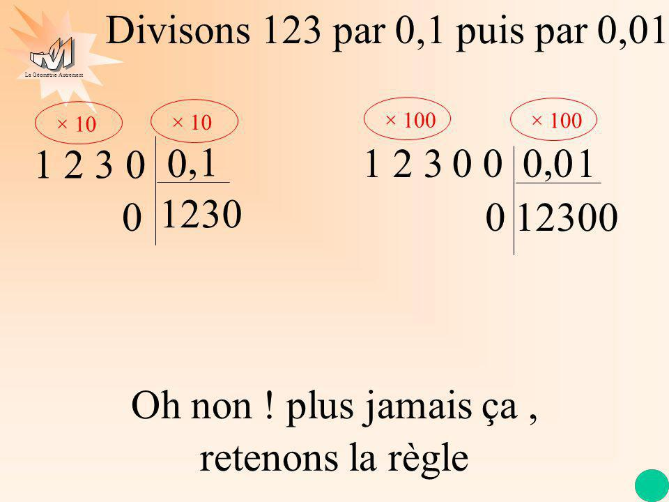Divisons 123 par 0,1 puis par 0,01 × 10. × 100. , 1 2 3. 1. 1 2 3. 0 0. 0 0. , 1. 1230. 12300.