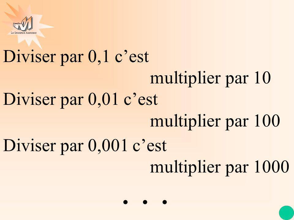 Diviser par 0,1 c'est. multiplier par 10 Diviser par 0,01 c'est