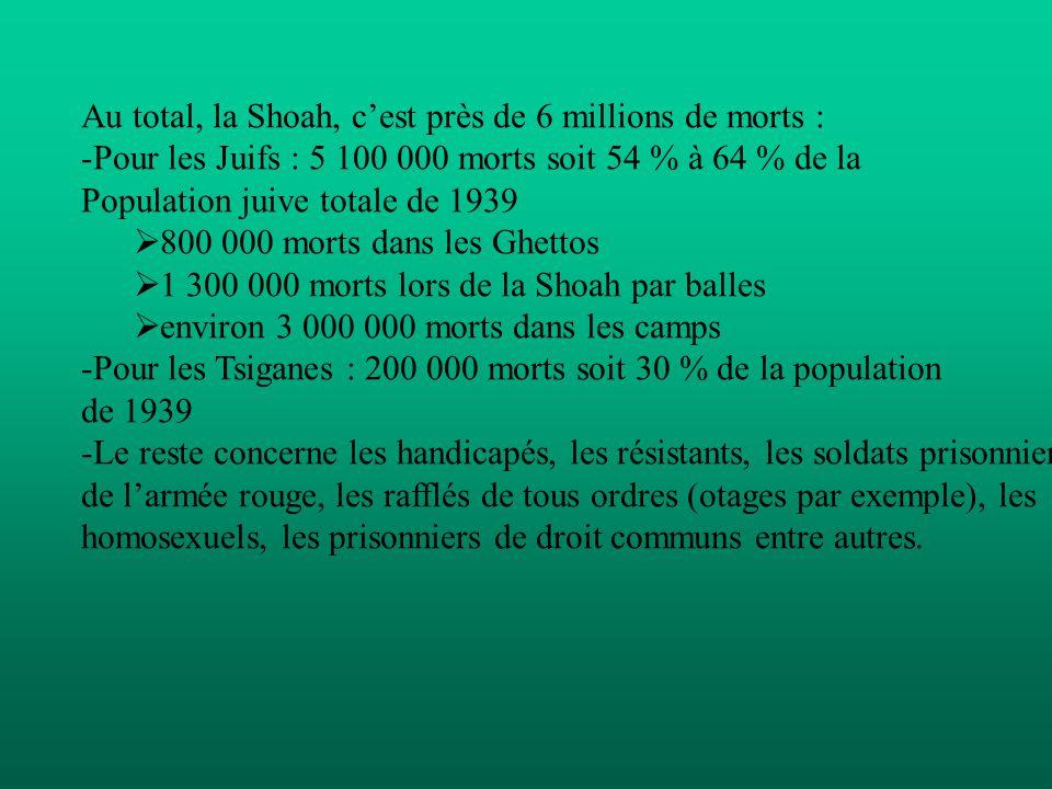 Au total, la Shoah, c'est près de 6 millions de morts :