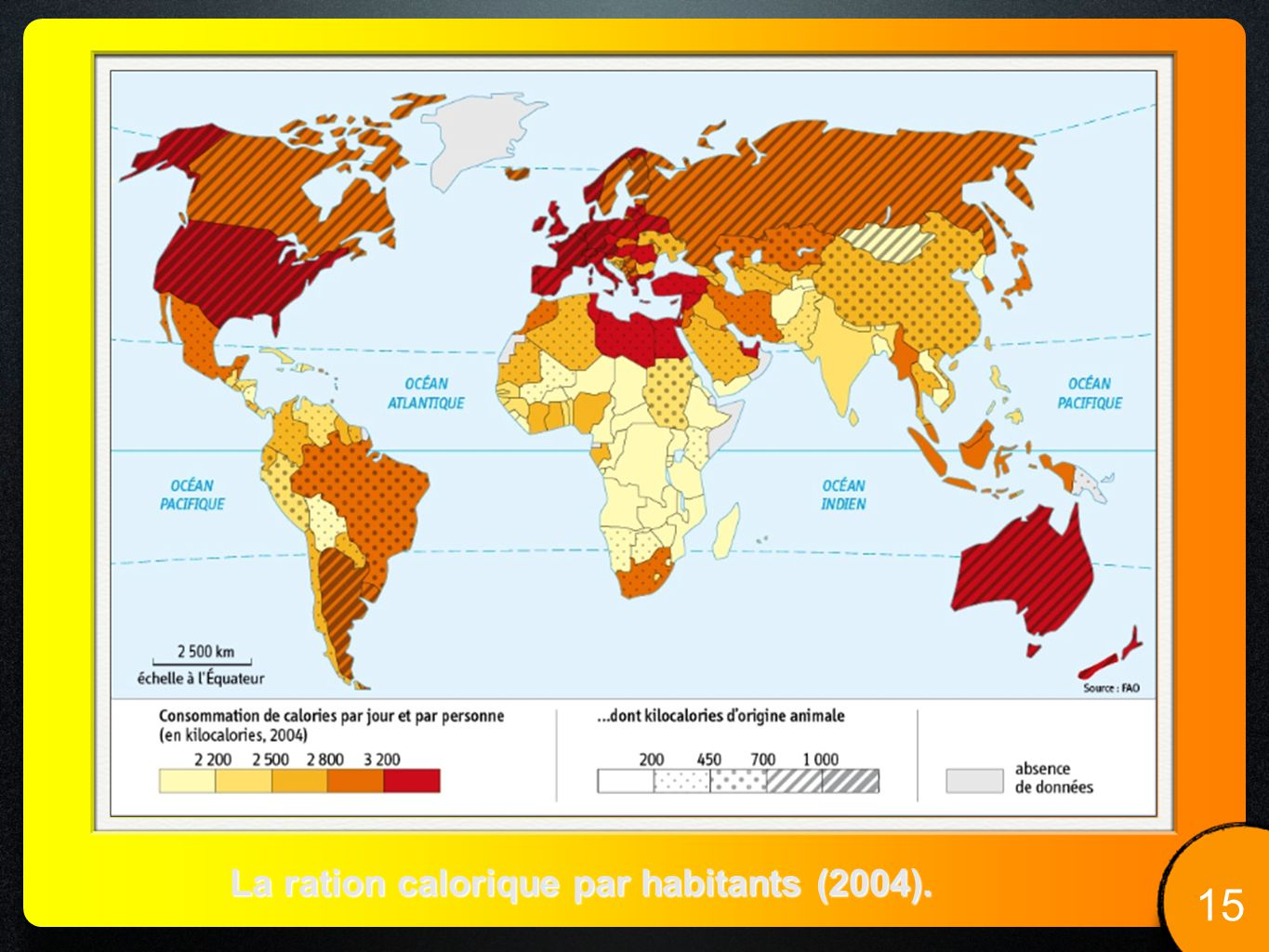 La ration calorique par habitants (2004).