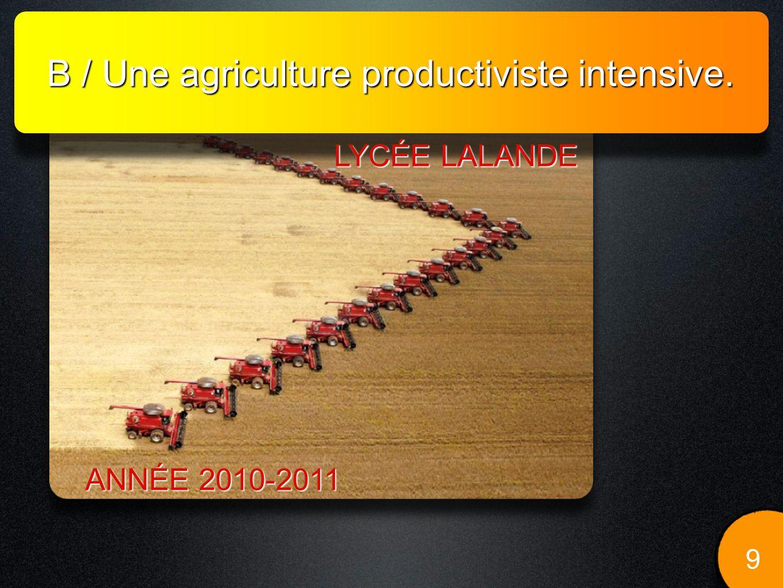 B / Une agriculture productiviste intensive.