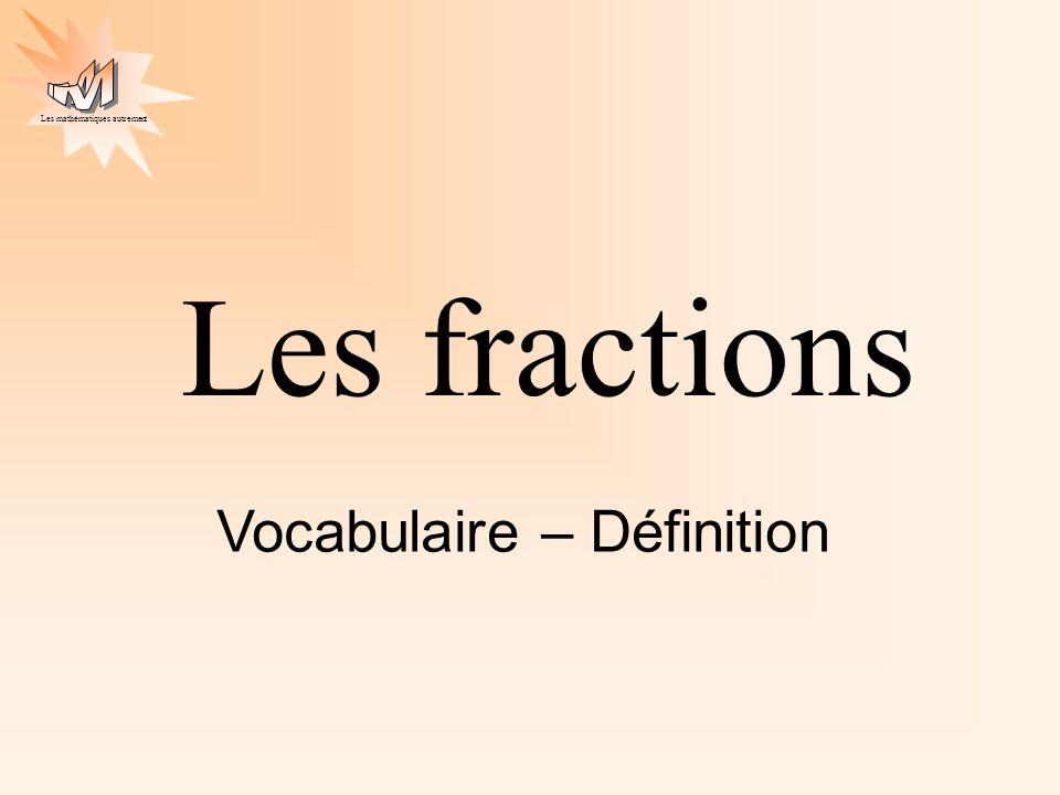 Les fractions Vocabulaire – Définition