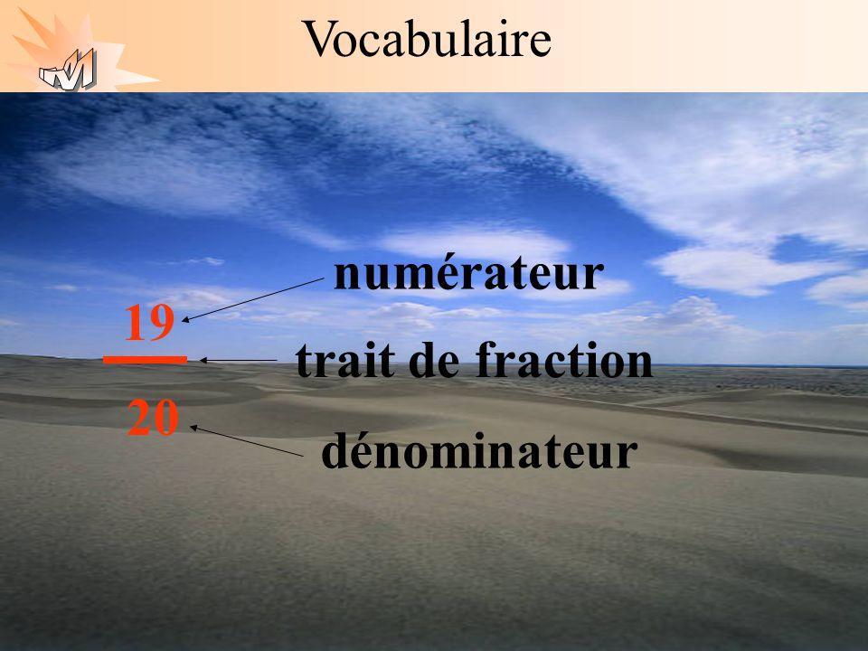 Vocabulaire numérateur 19 20 trait de fraction dénominateur
